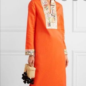 Tory Burch Embroidered Linen and Cotton Maxi Dress